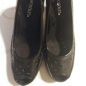 Aerosoles Benevolent Black Peep Toe Heels 8.5M